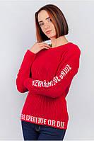 Джемпер женский с надписями. (Красный). Арт-379F001.5