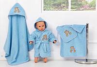 """Набір махрових рушників для купання, блакитний, """"Ведмедик"""""""