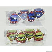 """Ёлочная игрушка """"Костюмчики"""" 01061 (120) 2 вида, 4 шт в слюде, d=6см"""