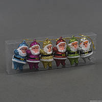 """Ёлочная игрушка С 22144 (800) """"Дед Мороз"""" 6шт в слюде"""