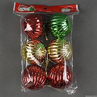 """Ёлочная игрушка С 22459 (80) """"Шарики"""" 6шт в кульке, d=7см"""