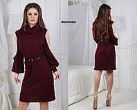 Платье ангора хомут сетка рукав модель #19 \ марсала, фото 1