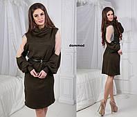 Платье ангора хомут сетка рукав модель #19 \ хаки
