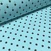 Хлопковая ткань польская звезды графитовые на бирюзовом №152