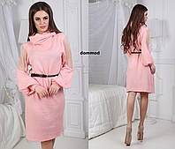 Платье ангора хомут сетка рукав модель #19 \ персик