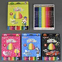 Карандаши цветные 01396 (192) 18шт в упаковке, 18 цветов, 4 вида