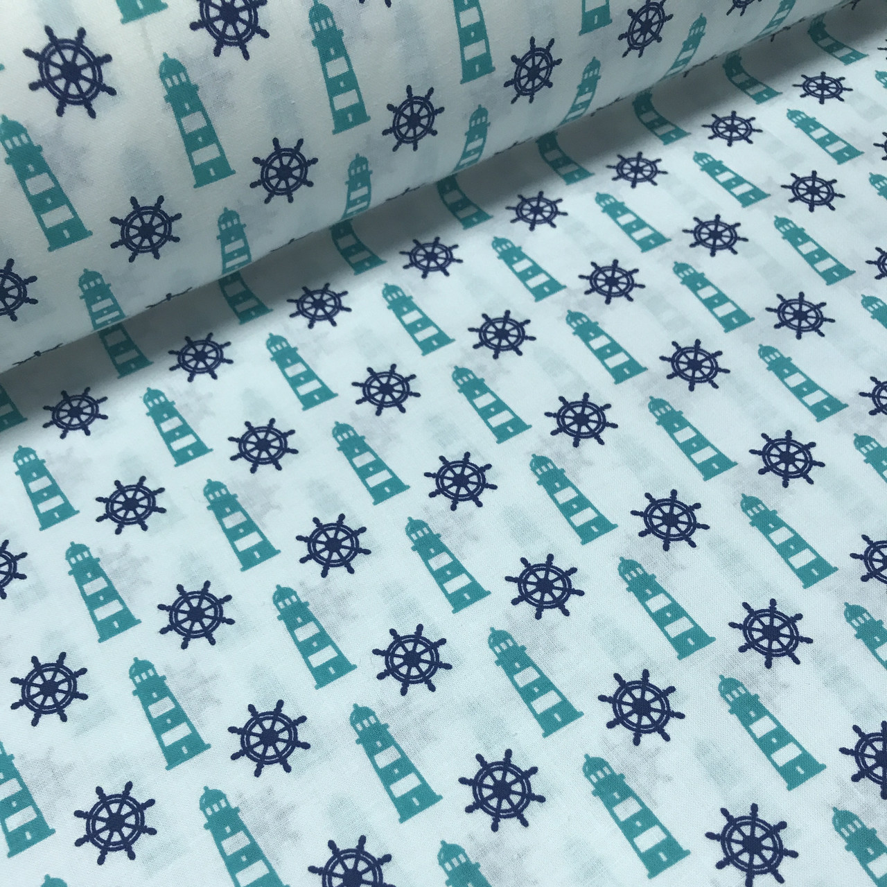 Хлопковая ткань польская синие штурвалы и бирюзовые маяки №150