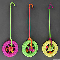 """Каталка 887-1 (96) """"Колесо"""" с трещёткой и погремушкой на палочке, 3 цвета, в кульке, 72см"""