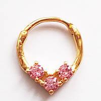 """Для пирсинга септума носа """"Три кристалла"""" (розовые). Медицинская сталь, позолота., фото 1"""