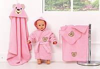 """Набір махрових рушників для купання, рожевий, """"Ведмедик"""""""