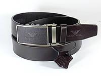 Ремень кожаный 4 см GIORGIO ARMANI с пряжкой автомат (темно-коричневый)