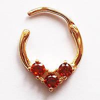 """Для пирсинга септума носа """"Три кристалла"""" (красные). Медицинская сталь, позолота., фото 1"""