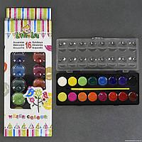Краски акварельные для рисования 01425 (144) 16 цветов, с кисточкой, в коробке
