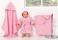 """Набір махрових рушників для купання, рожевий, """"Оленята"""""""