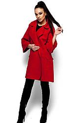 Женское модное пальто кашемир, красное, р.42-48