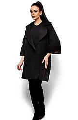 Женское модное пальто кашемир, черное, р.42-48