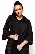 Женское модное пальто кашемир, черное, р.42-44, фото 3