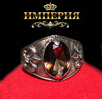 Перстень серебряный мужской с камнем Королевская Лилия