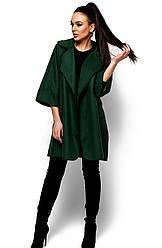 Женское модное пальто кашемир, тем.зеленое, р.42-48