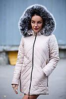 Женская куртка на синтепоне с капюшоном и опушкой tez140112