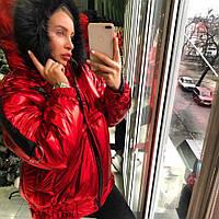 Женская зимняя теплая куртка Металлик с капюшоном tez180150