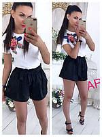 Женская белая футболка, декор красивая аппликация с паетками (42/46 р) 88П83