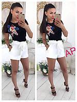 Женская черная футболка, декор красивая аппликация с паетками (42/46 р) 88П83_1