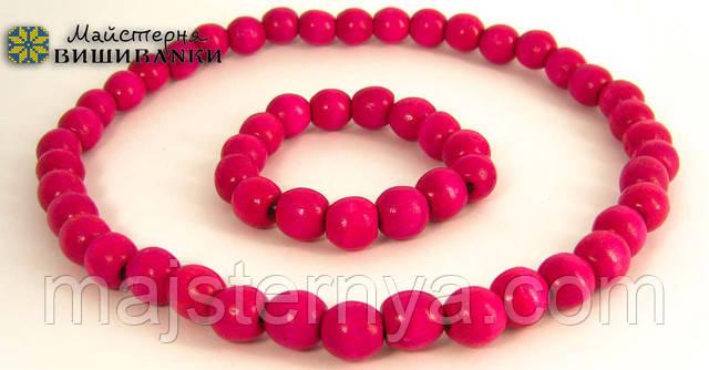 Намисто з браслетом розового кольору