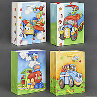 """Подарочный пакет """"3D"""" СРЕДНИЙ 555-761 (480) 26х32х10см, 4 вида """"Транспорт"""""""