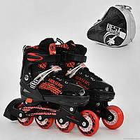 """Ролики 5800 """"S"""" Best Rollers /размер 31-34/ цвет-КРАСНЫЙ (6) колёса PU, переднее колесо свет, переставные колёса, в сумке d=6.4cм"""