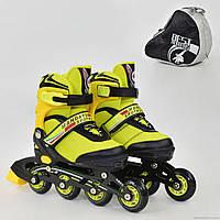 """Ролики 8901 """"S"""" Best Rollers цвет-ЖЁЛТЫЙ /размер 31-34 (30-33)/ (6) колёса PU, без света, в сумке, d=6.4 см"""