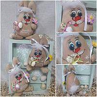 """Кролик с цветком и яйцами """"На счастье, здоровье"""", ручная работа, выс. 19-20 см., 120/90 (цена за 1 шт + 30 гр)"""
