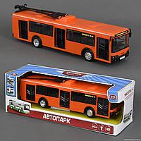 Троллейбус 9690 В (36) звук мотора, музыка, свет фар, двери открываются, 2 цвета, инерция, на батарейке, в коробке