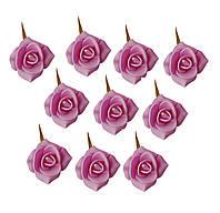 Цветы декоративные Розовые розы (розочки) из фоамирана (латекса) 3 см 10 шт/уп