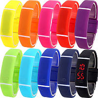 №1 Спортивные силиконовые водонепроницаемые наручные LED часы - браслет 2 в 1, Унисекс , фото 1