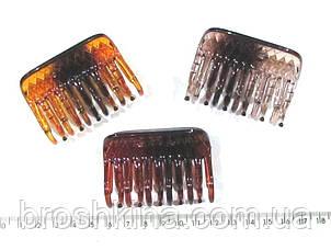 Краб для волос пластик  L 6 см коричневый 12 шт/уп