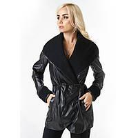 Куртка экокожа с довязом черная