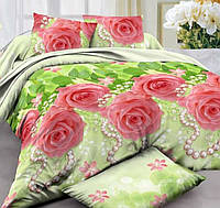 Полуторное постельное белье с простыней на резинке 90/200/25 Бархатные розы, ранфорс