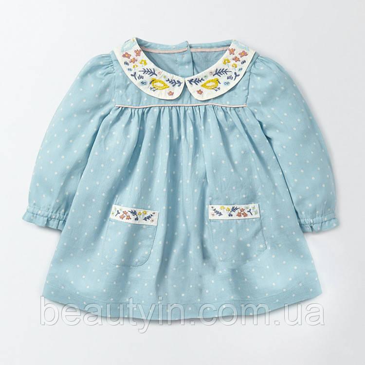 Платье для девочки Маленький горошей, голубой Jumping Beans
