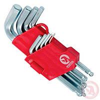 Набор Г-образных шестигранных ключей с шарообразным наконечником 9 ед. 1,5-10 мм Cr-V 55 HRC Small INTERTOOL
