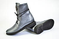 Ботинки кожаные серого цвета на шнурках