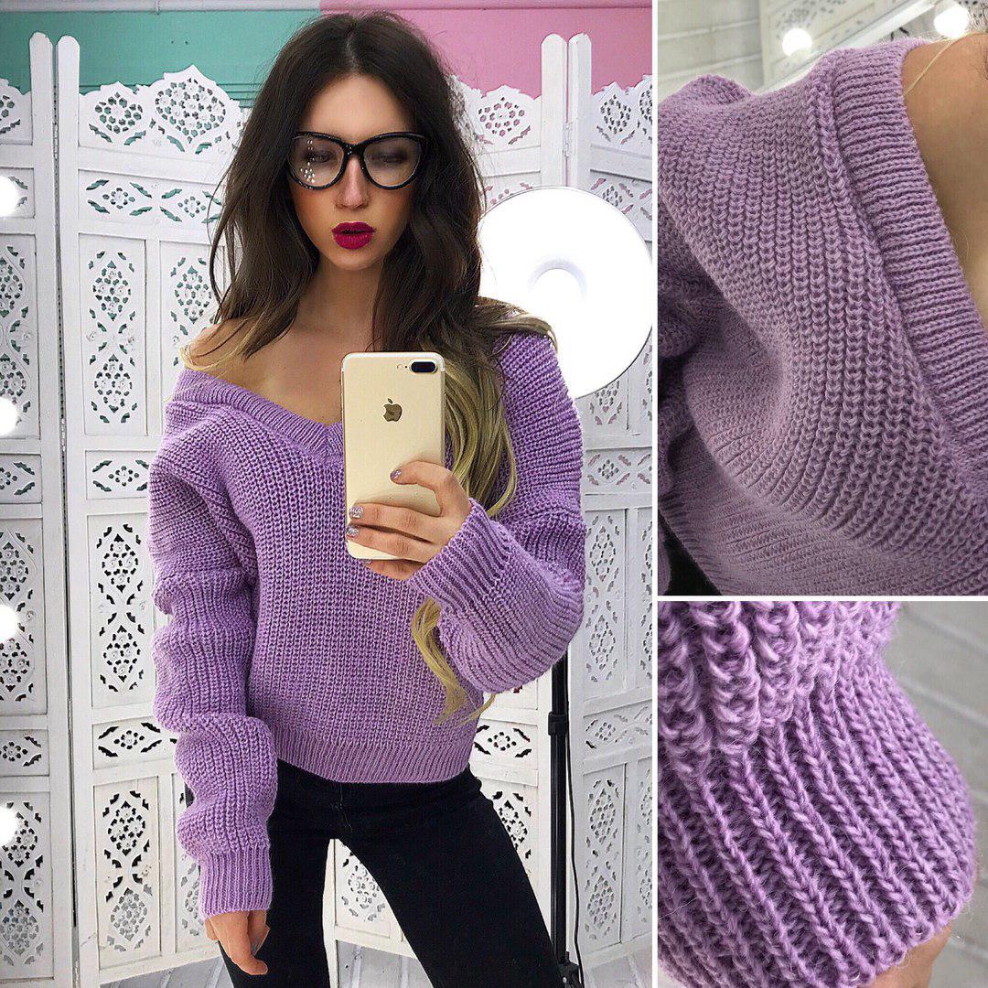 41f3ff6613e Женский вязаный свитер с открытыми плечами