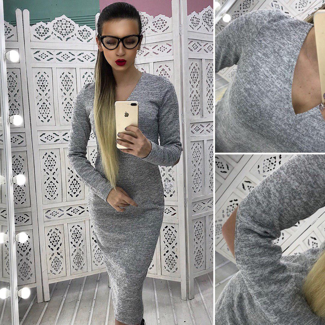 929e6528268f63a Стильное платье из ангоры с V-образным вырезом - Цена 335 грн ...