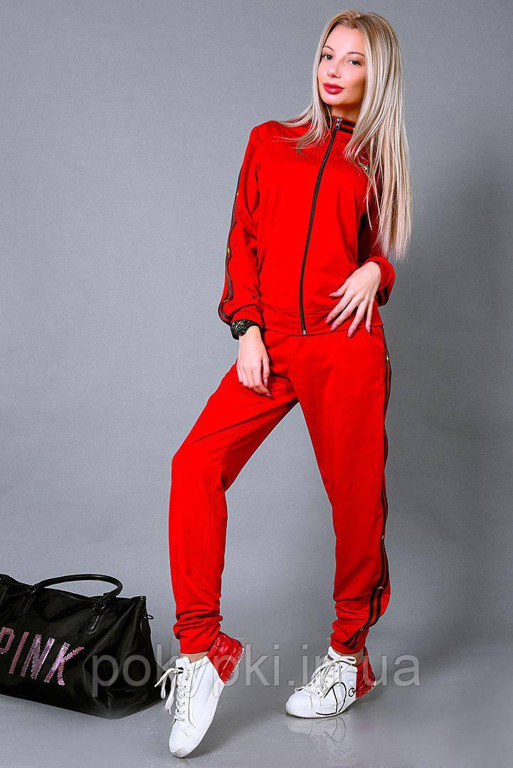 efaff39ab2c Спортивный костюм женский трикотажный красного цвета ветровка + брюки в  стиле Гуччи -