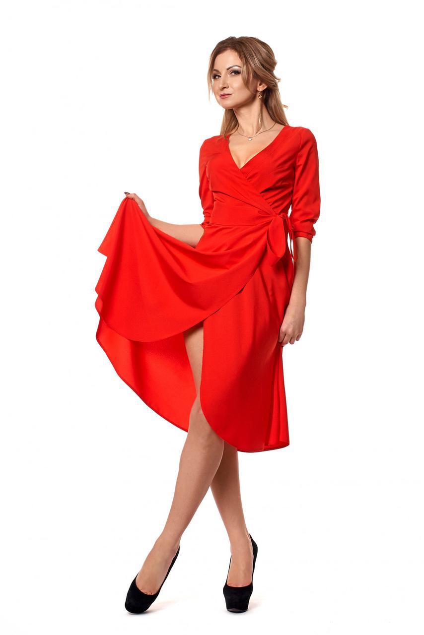 2f279abf5f4dabb Изящное женское платье на запах красного цвета - Интернет-магазин  Buyself.com.ua