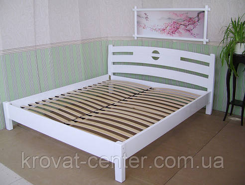 """Белая полуторная кровать """"Сакура"""". Массив - сосна, ольха, береза, дуб., фото 2"""