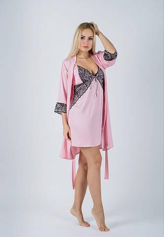 Комплект ночная рубашка + халат MiaNaGreen К412н Розовый  продажа ... 94062689065af