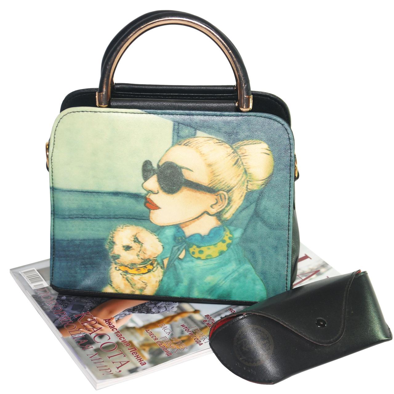 Женская сумка Дама с собачкой 01539555020274black черная