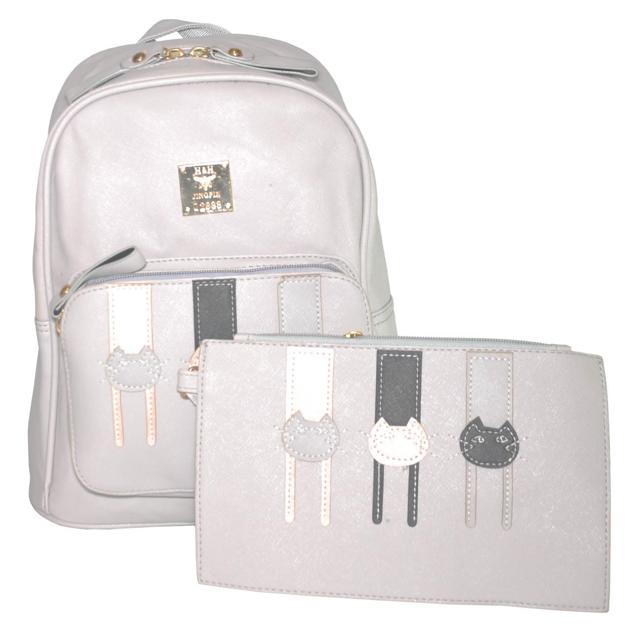 Комплект женский рюкзак и клатч три кота 01537342435780grey серый