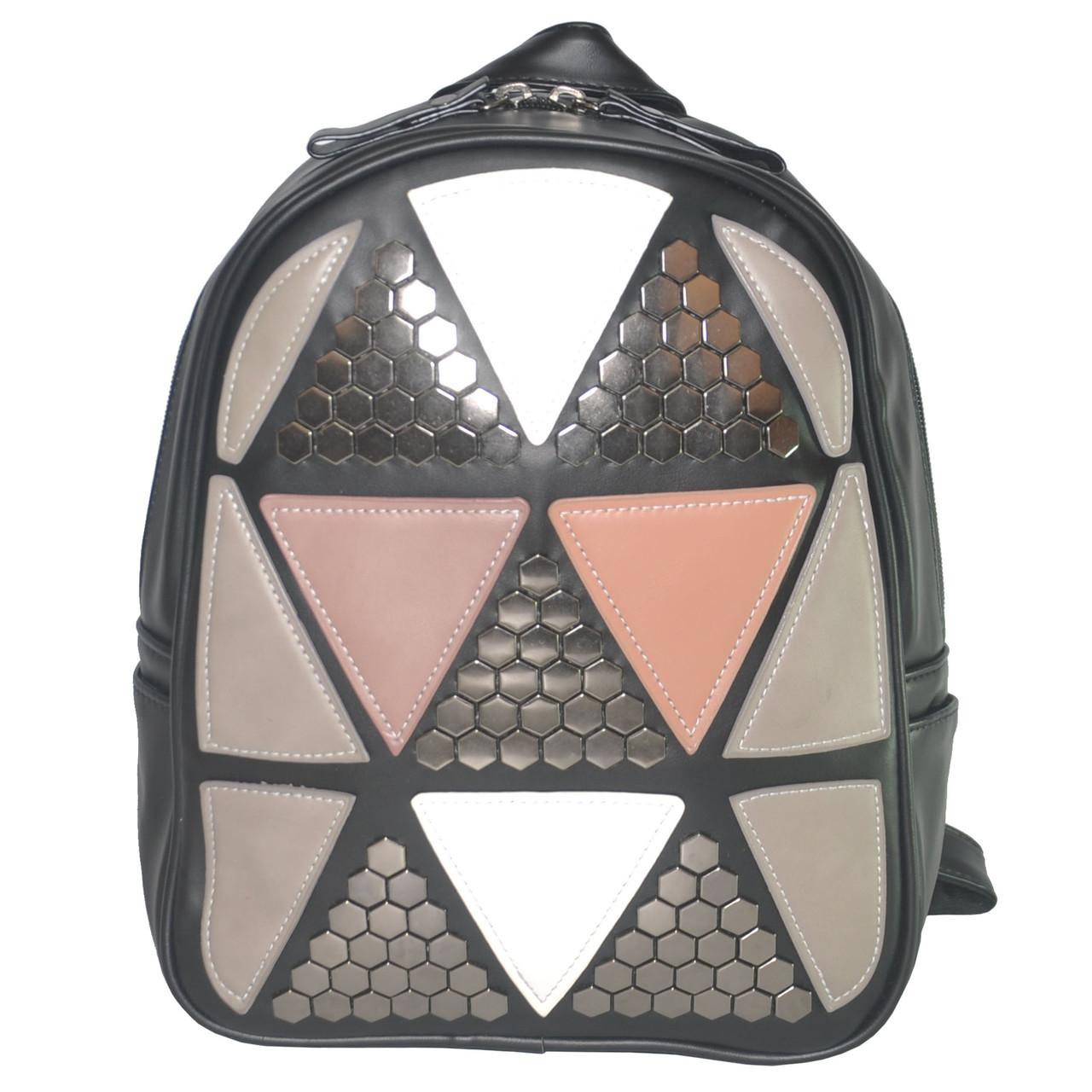 Женский рюкзак с аппликацией в треугольники 01544867268142black черный